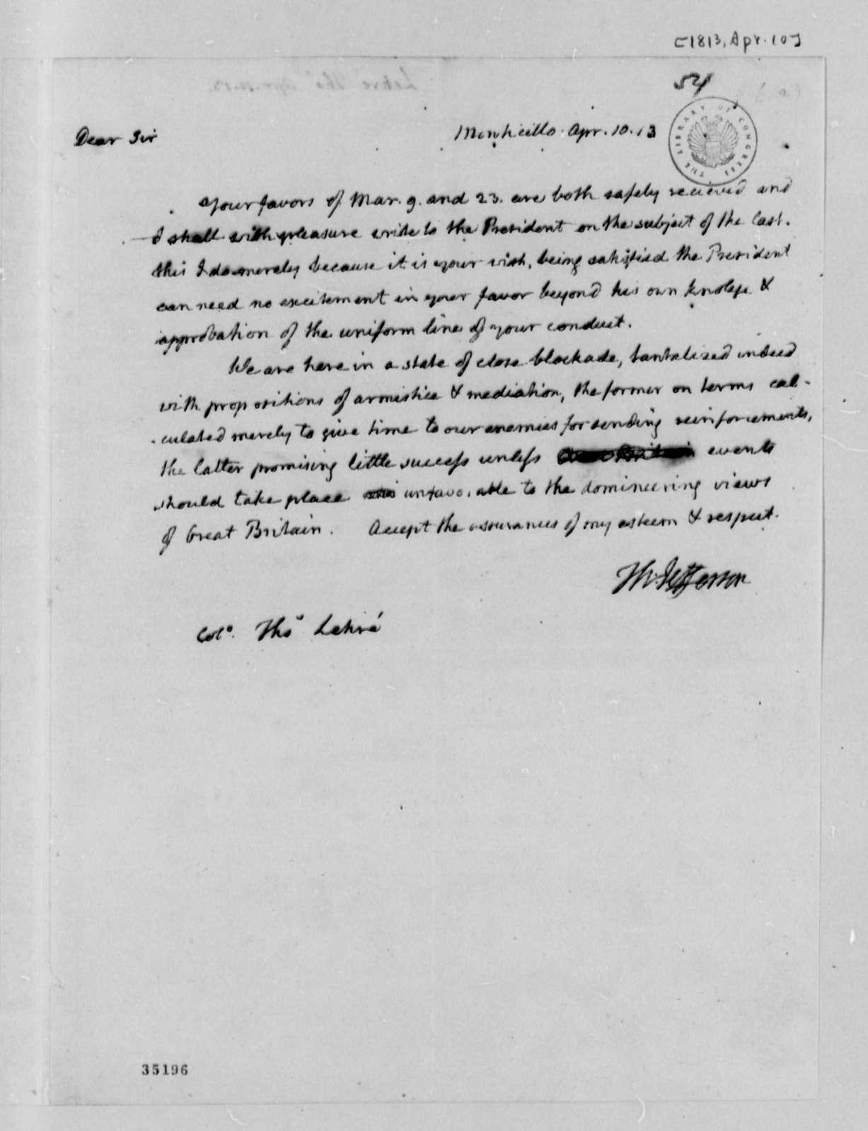 Thomas Jefferson to Thomas Lehre, April 10, 1813