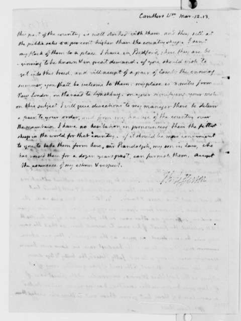 Thomas Jefferson to William Caruthers, March 12, 1813