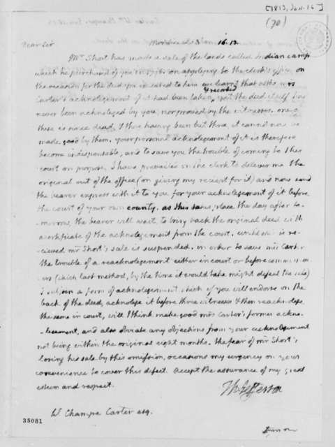 Thomas Jefferson to William Champe Carter, January 16, 1813, with Statement of Acknowledgement