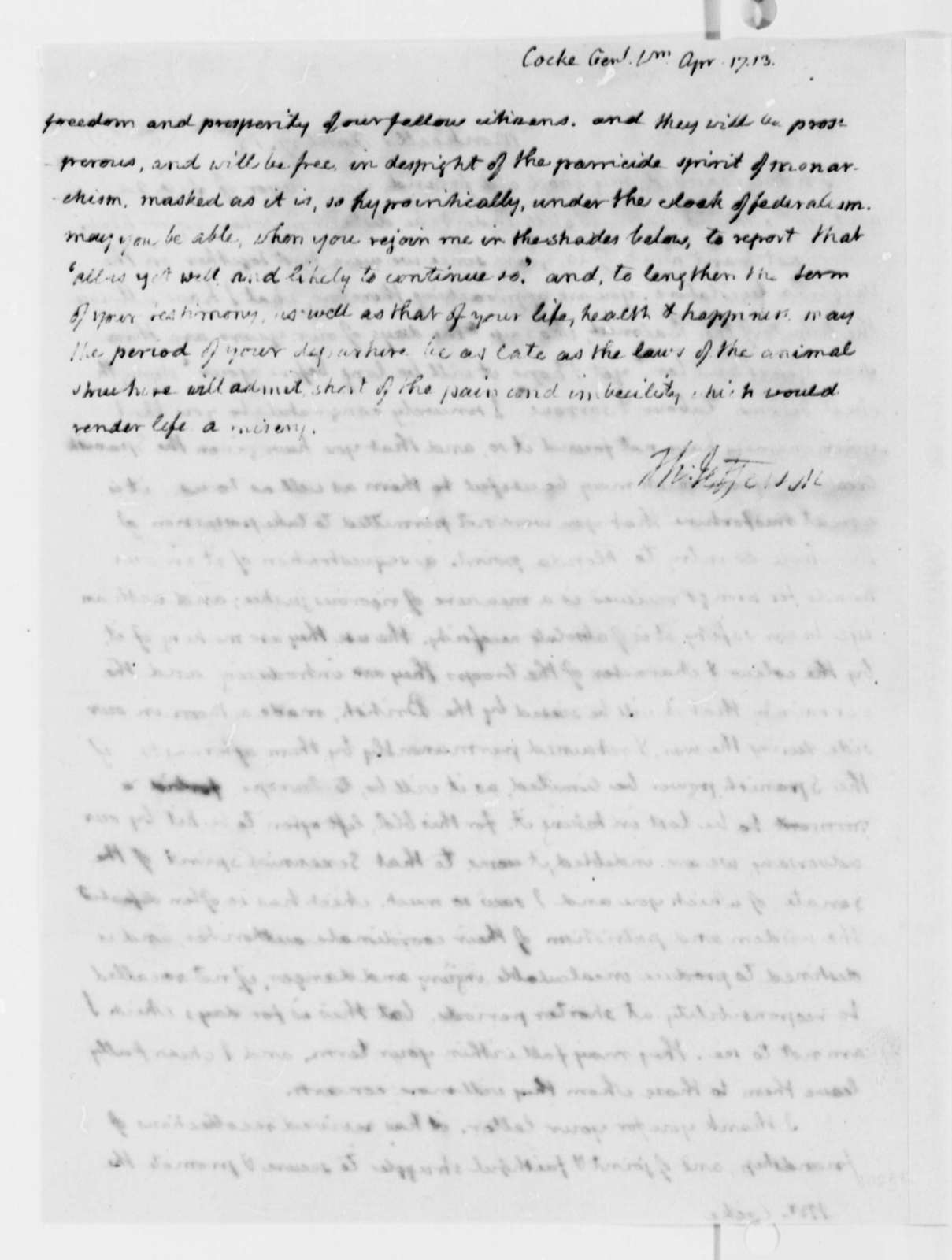 Thomas Jefferson to William Cocke, April 17, 1813