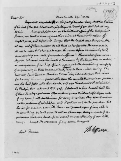 Thomas Jefferson to William Duane, September 18, 1813