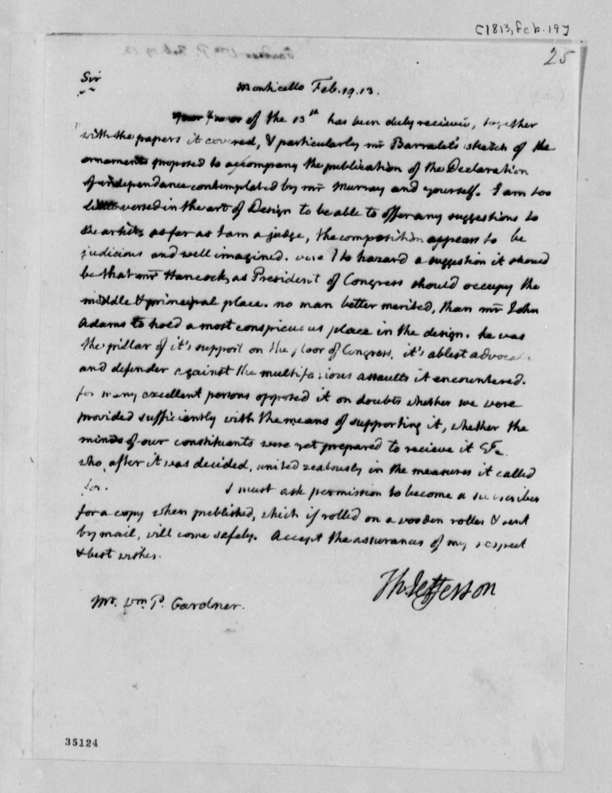 Thomas Jefferson to William P. Gardner, February 19, 1813