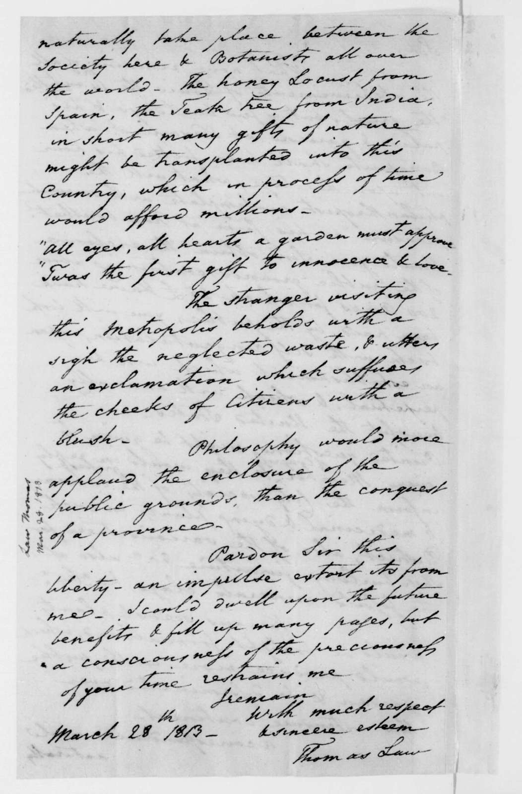 Thomas Law to James Madison, March 28, 1813.