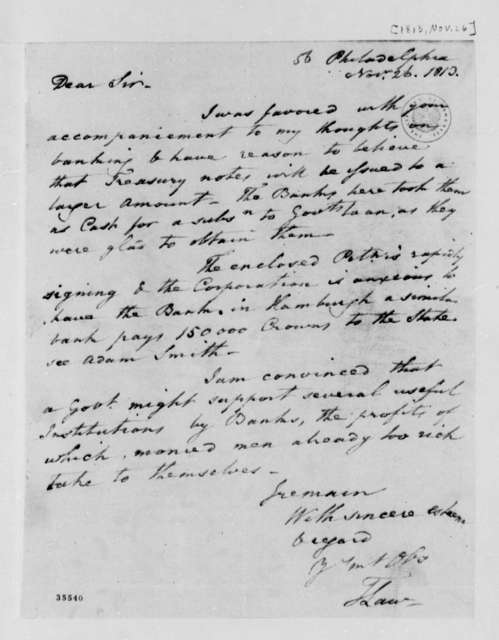 Thomas Law to Thomas Jefferson, November 26, 1813, with Broadside