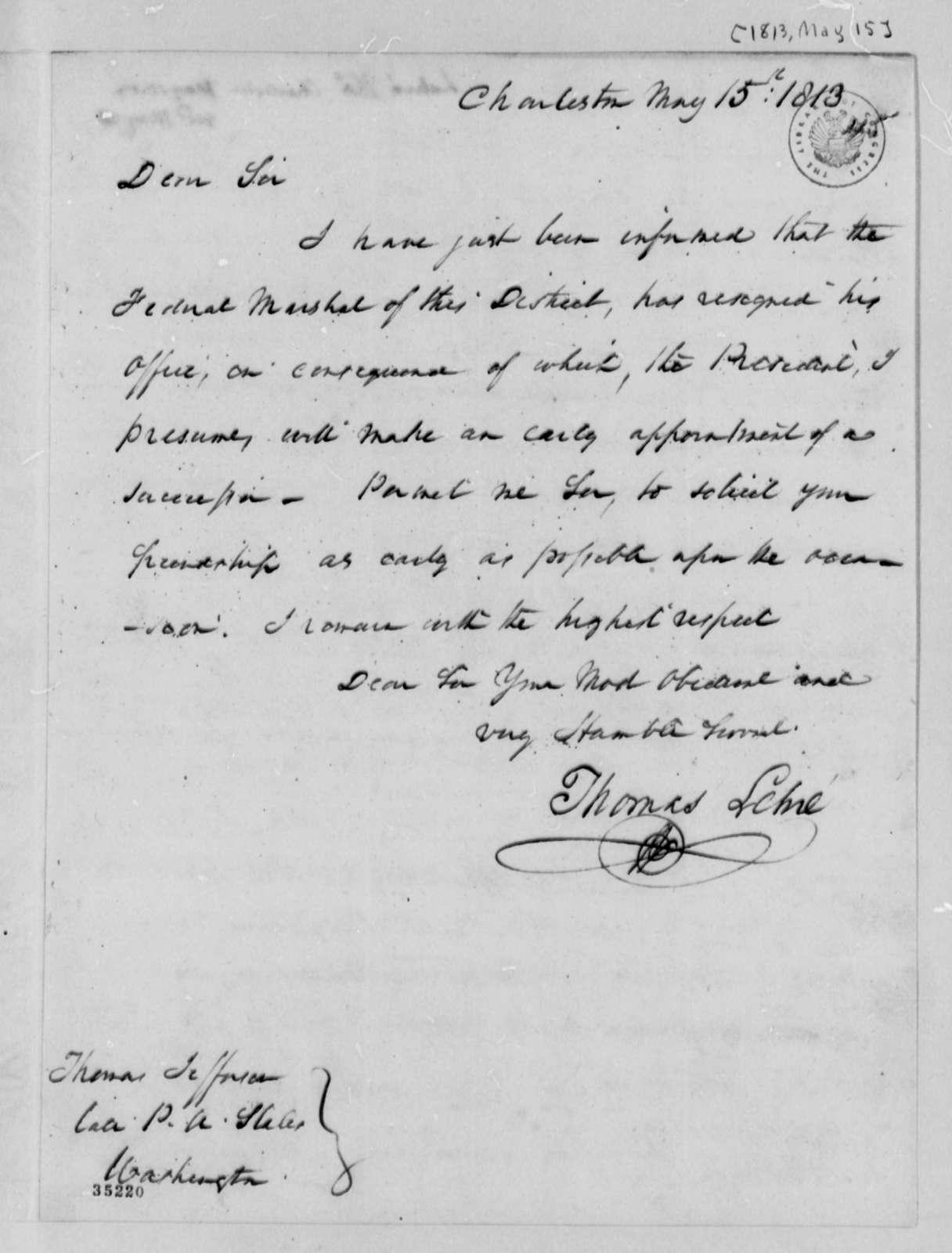 Thomas Lehre to Thomas Jefferson, May 15, 1813
