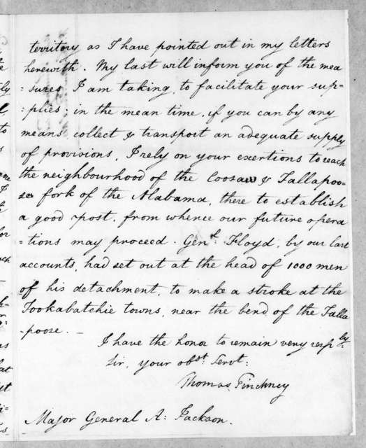 Thomas Pinckney to Andrew Jackson, December 2, 1813