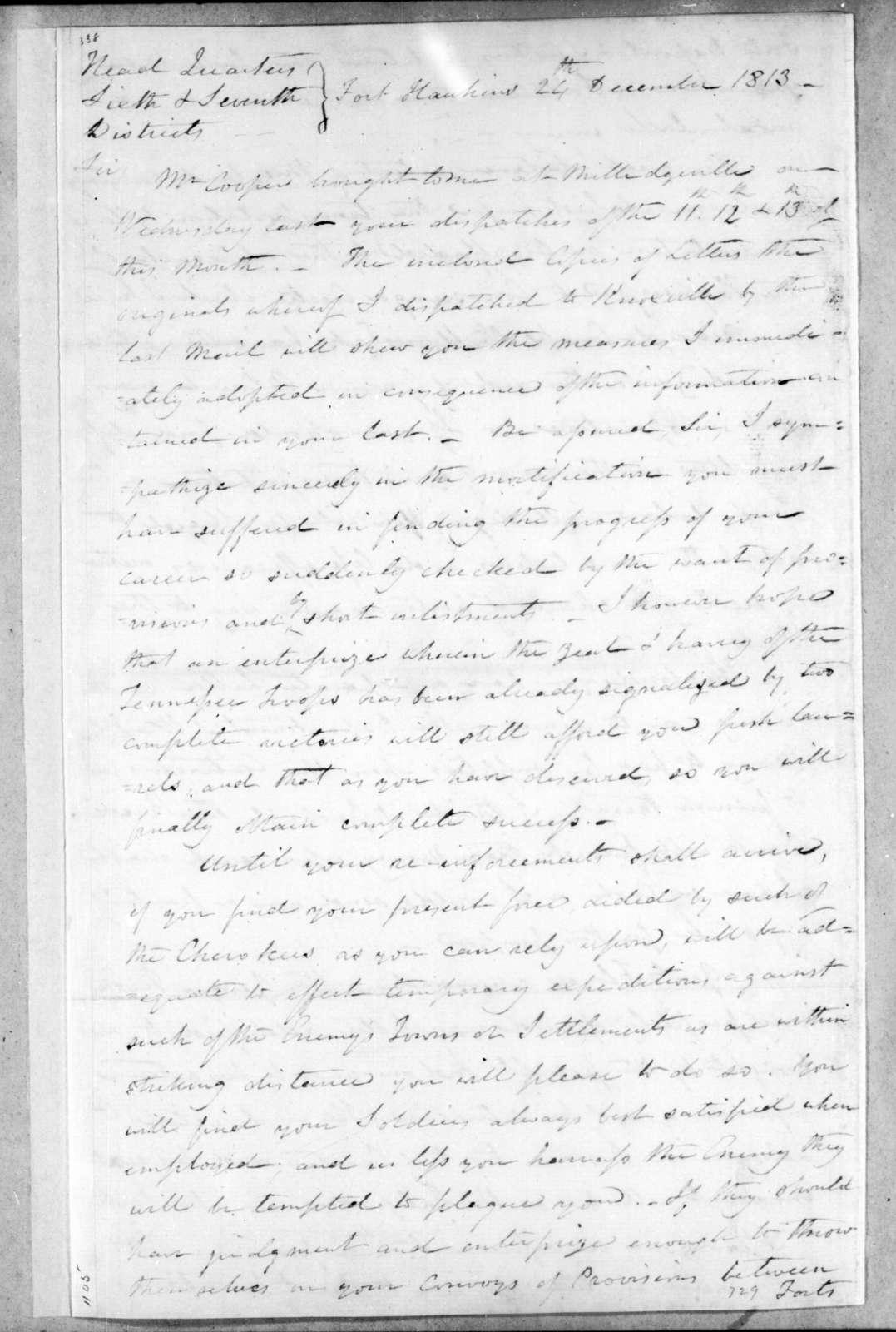 Thomas Pinckney to Andrew Jackson, December 24, 1813