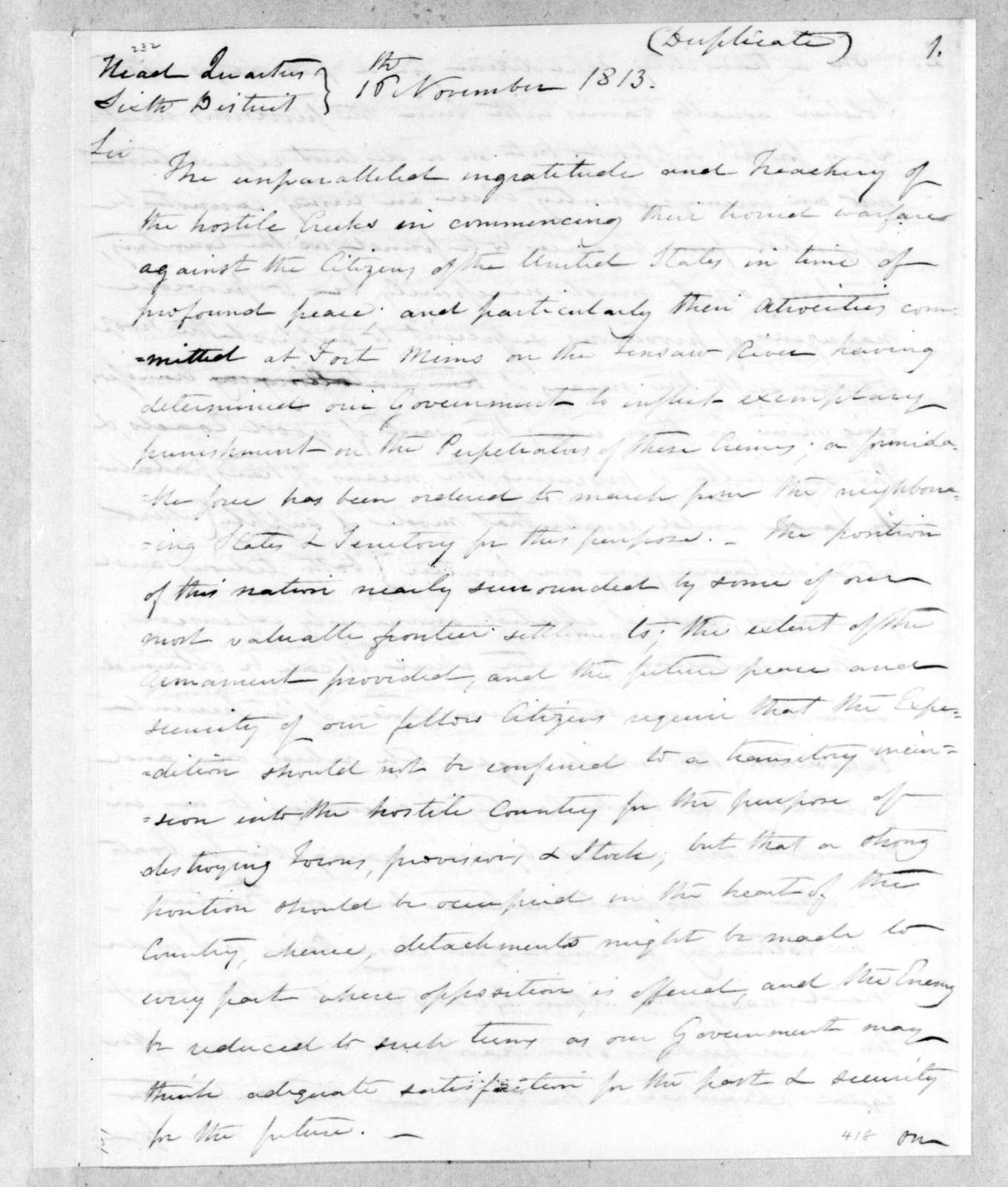 Thomas Pinckney to Andrew Jackson, November 16, 1813