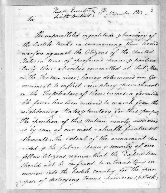 Thomas Pinckney to Andrew Jackson, November 16, 1813
