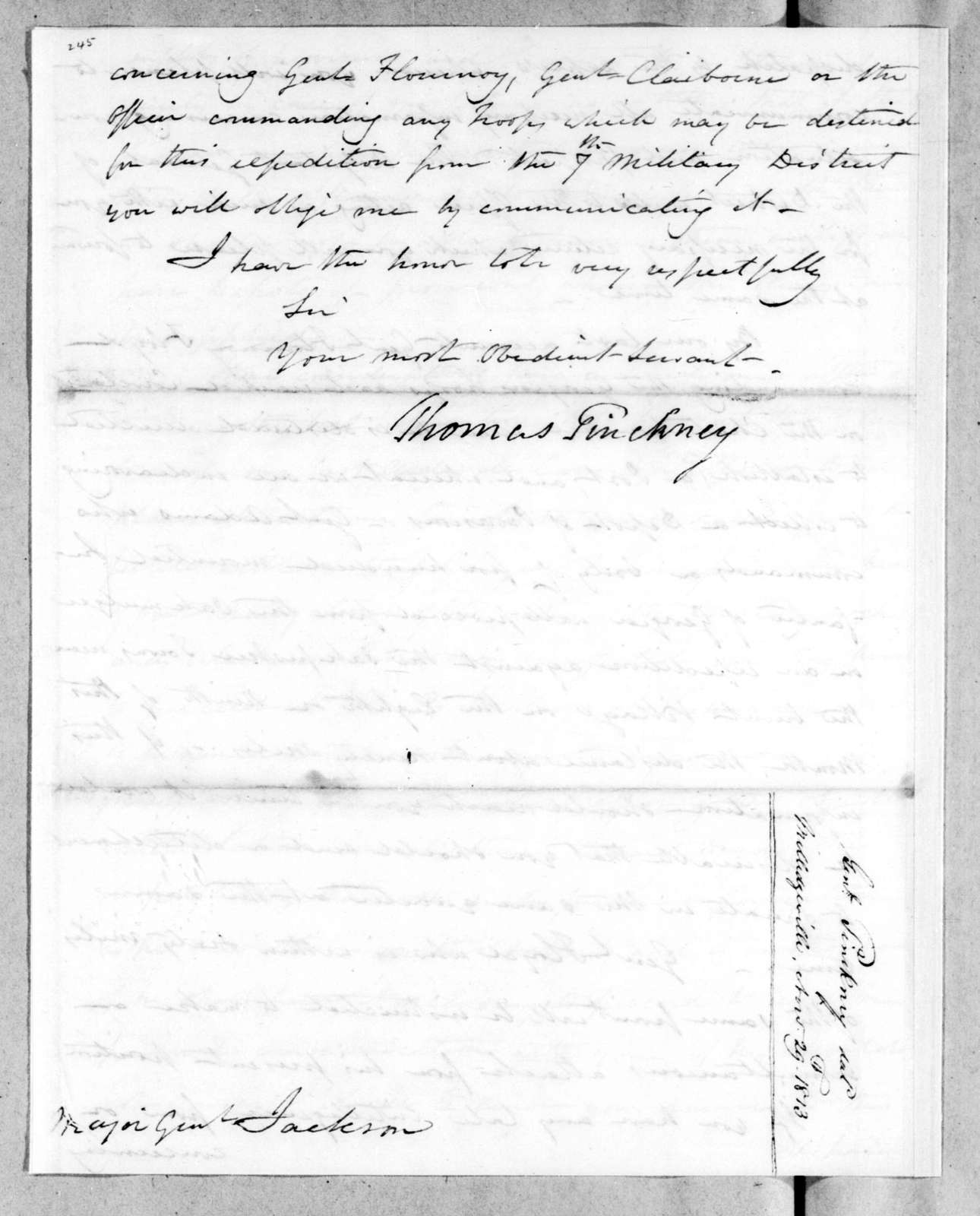 Thomas Pinckney to Andrew Jackson, November 29, 1813