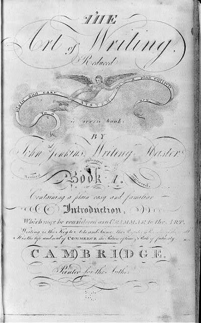 Title page, with calligrahic ornamentation, of John Jenkins, The art of writing, Cambridge, printed for the Author