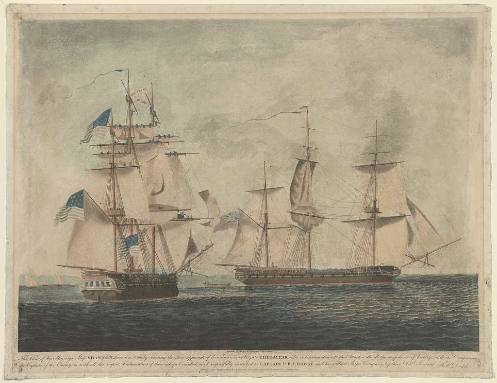 To Captain P.B.V. Broke commanding his majesty's ship Shannon, his officers, seamen, & marines, this representation of their gallantly boarding the American frigate Chesapeak, ... / painted by R. Dodd from the information of Captn. Falkinir.