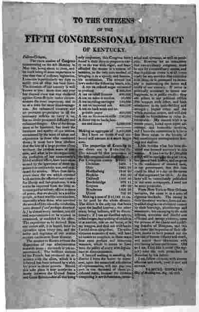 To the citizens of the fifth Congressional district of Kentucky ... Samuel Hopkins. City of Washington, Aug. 2, 1813.