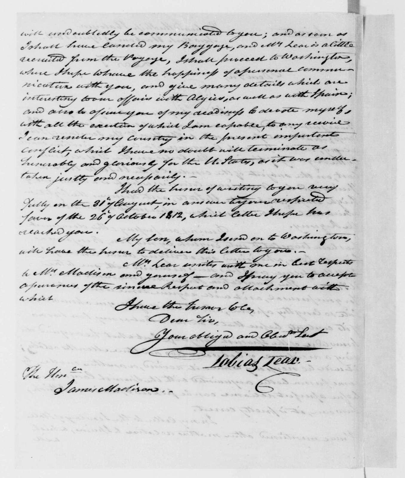 Tobias Lear to James Madison, April 9, 1813.