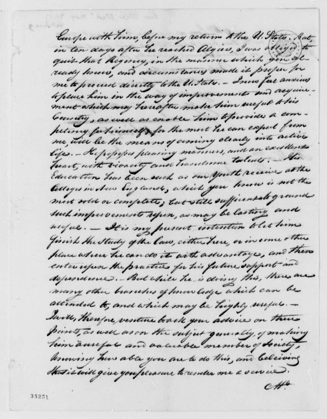 Tobias Lear to Thomas Jefferson, May 31, 1813