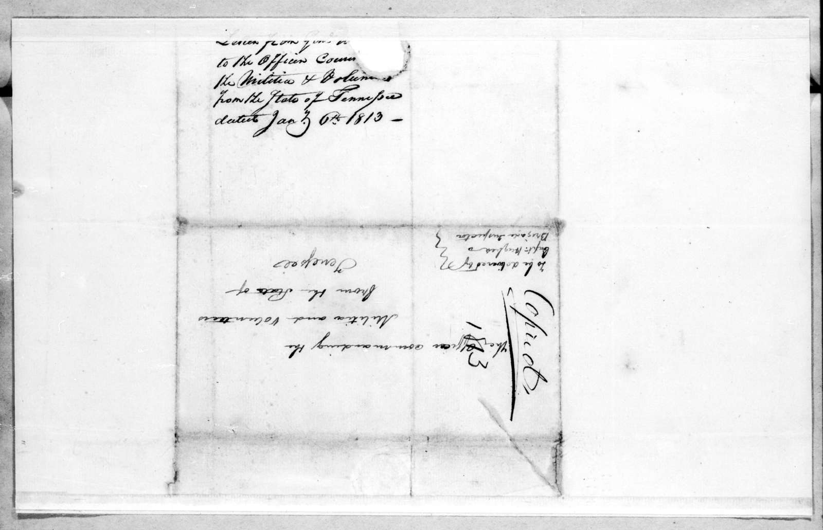 Unknown to Andrew Jackson, January 6, 1813
