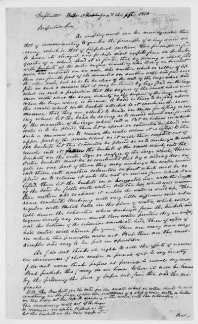 Unknown to Unknown, January 5, 1813. Invention Re Motion.