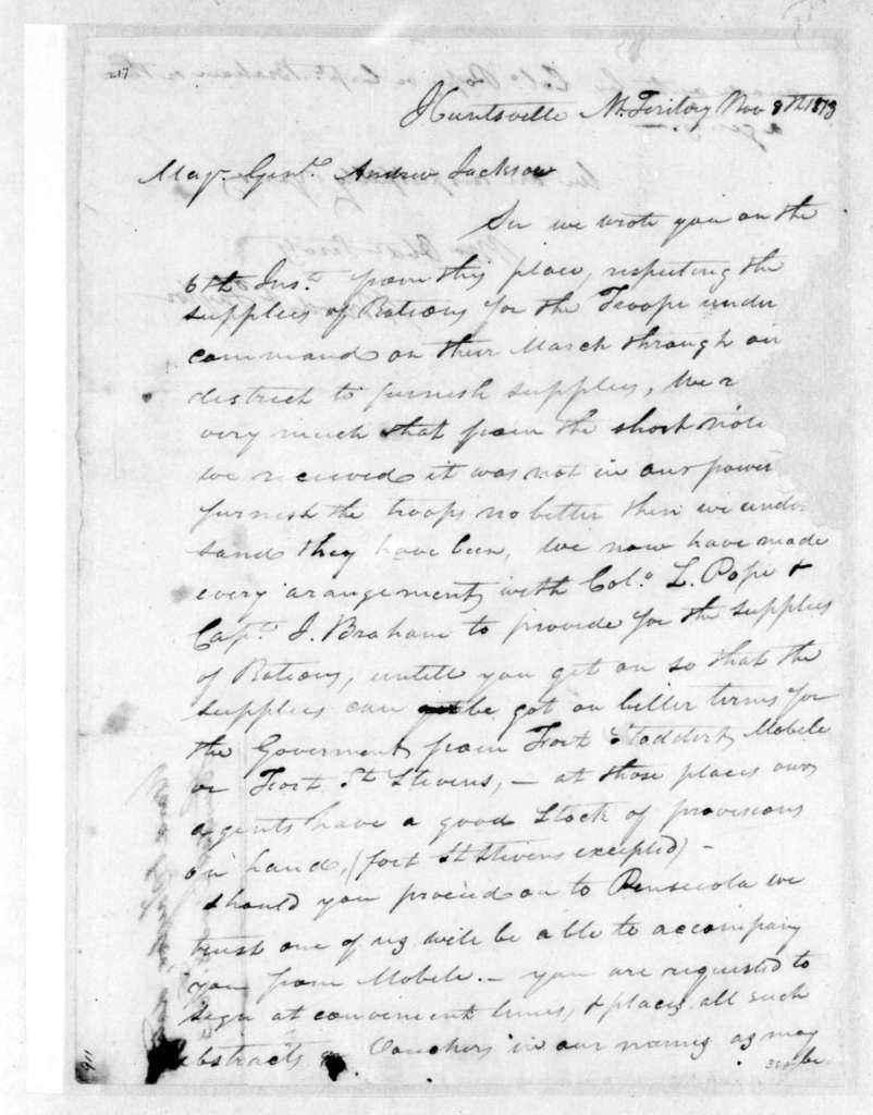 Ward & Taylor to Andrew Jackson, November 8, 1813