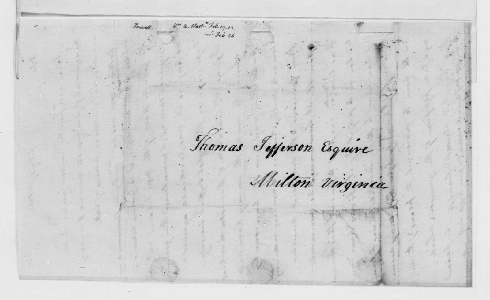 William A. Burwell to Thomas Jefferson, February 19, 1813