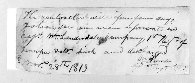 William Alexander, November 28, 1813