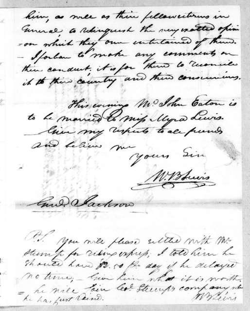 William Berkeley Lewis to Andrew Jackson, December 23, 1813