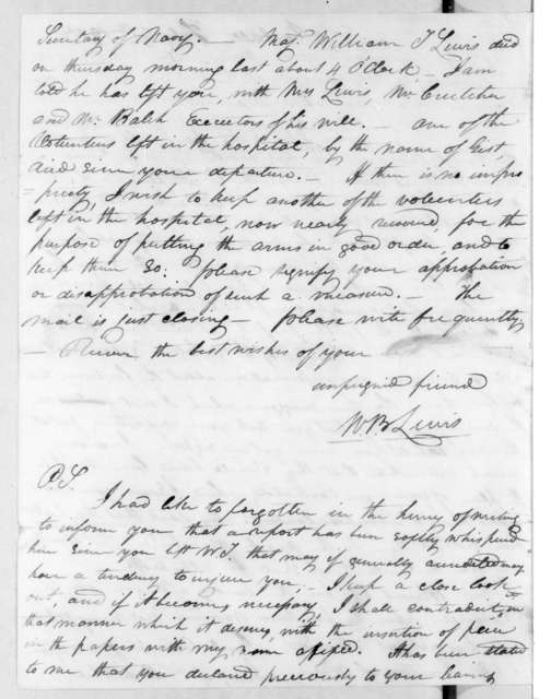 William Berkeley Lewis to Andrew Jackson, February 8, 1813