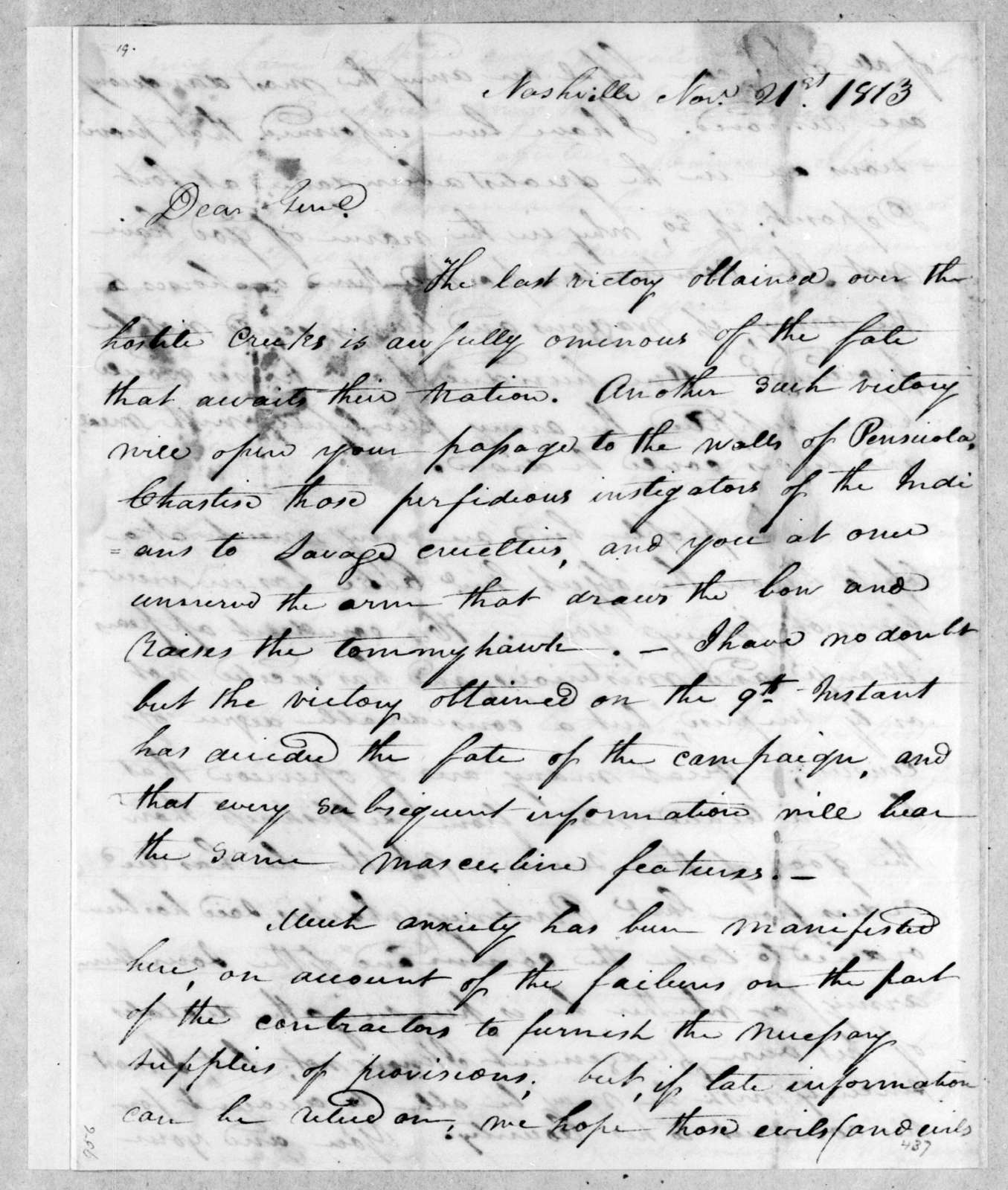 William Berkeley Lewis to Andrew Jackson, November 21, 1813
