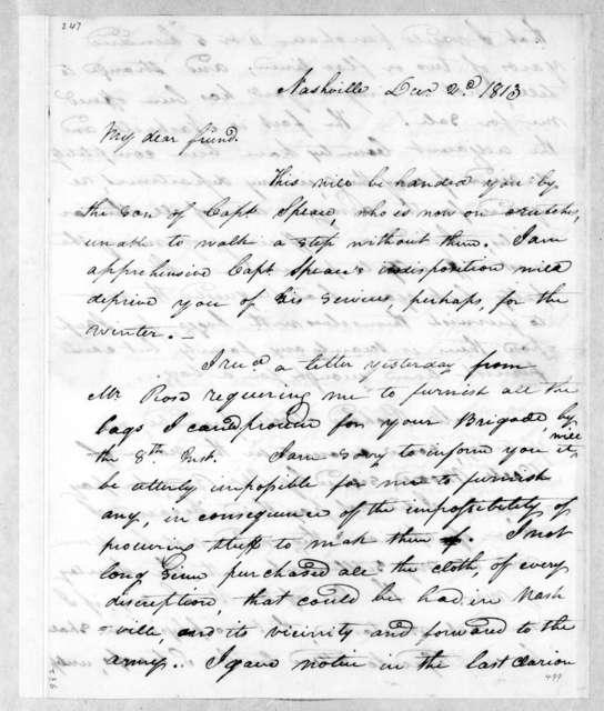 William Berkeley Lewis to John Coffee, December 2, 1813