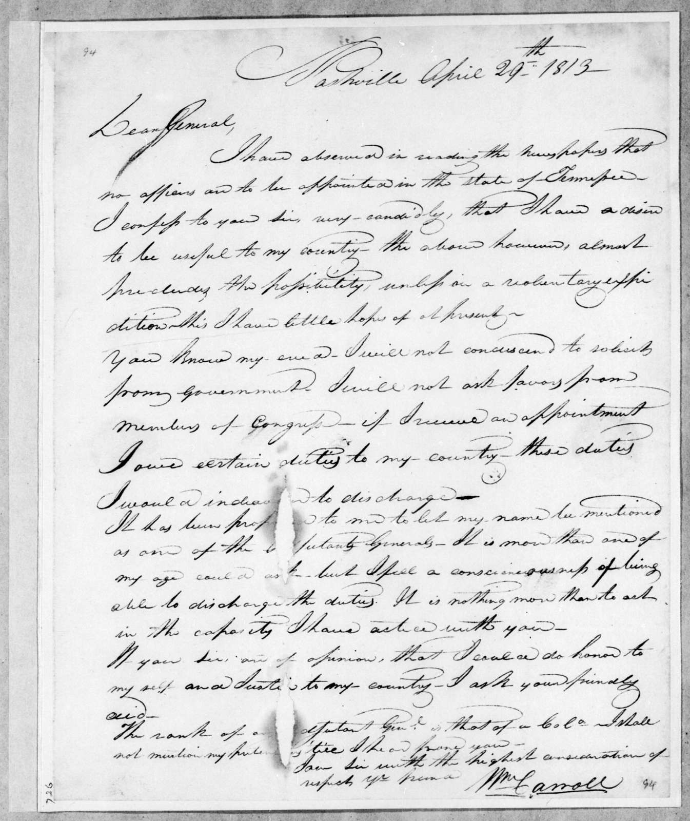 William Carroll to Andrew Jackson, April 29, 1813