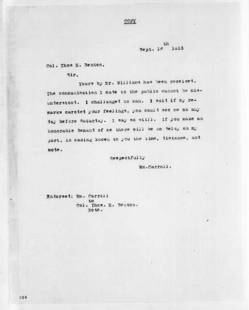 William Carroll to Thomas Hart Benton, September 16, 1813