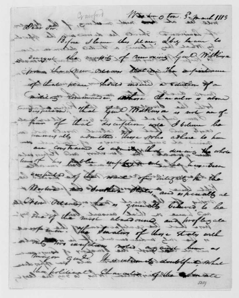 William Crawford to James Madison, March 3, 1813.