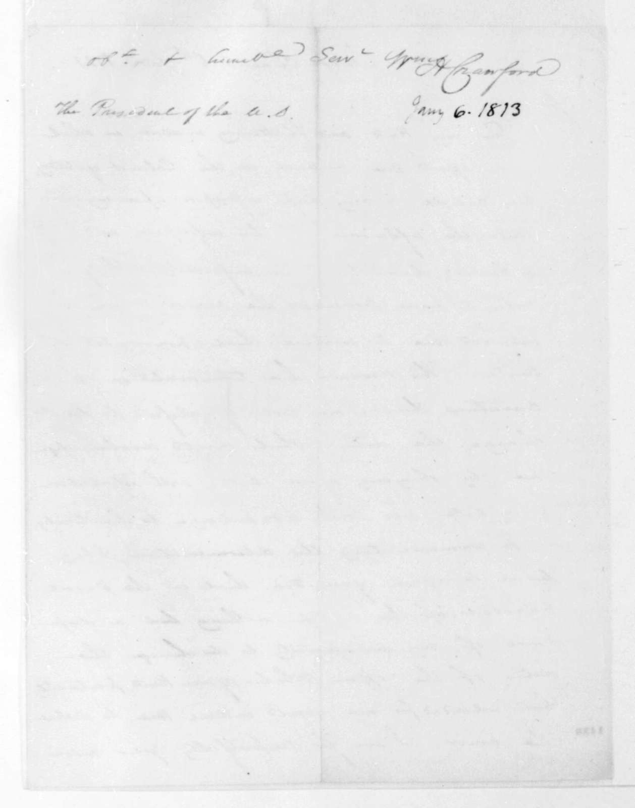 William H. Crawford to James Madison, January 6, 1813.