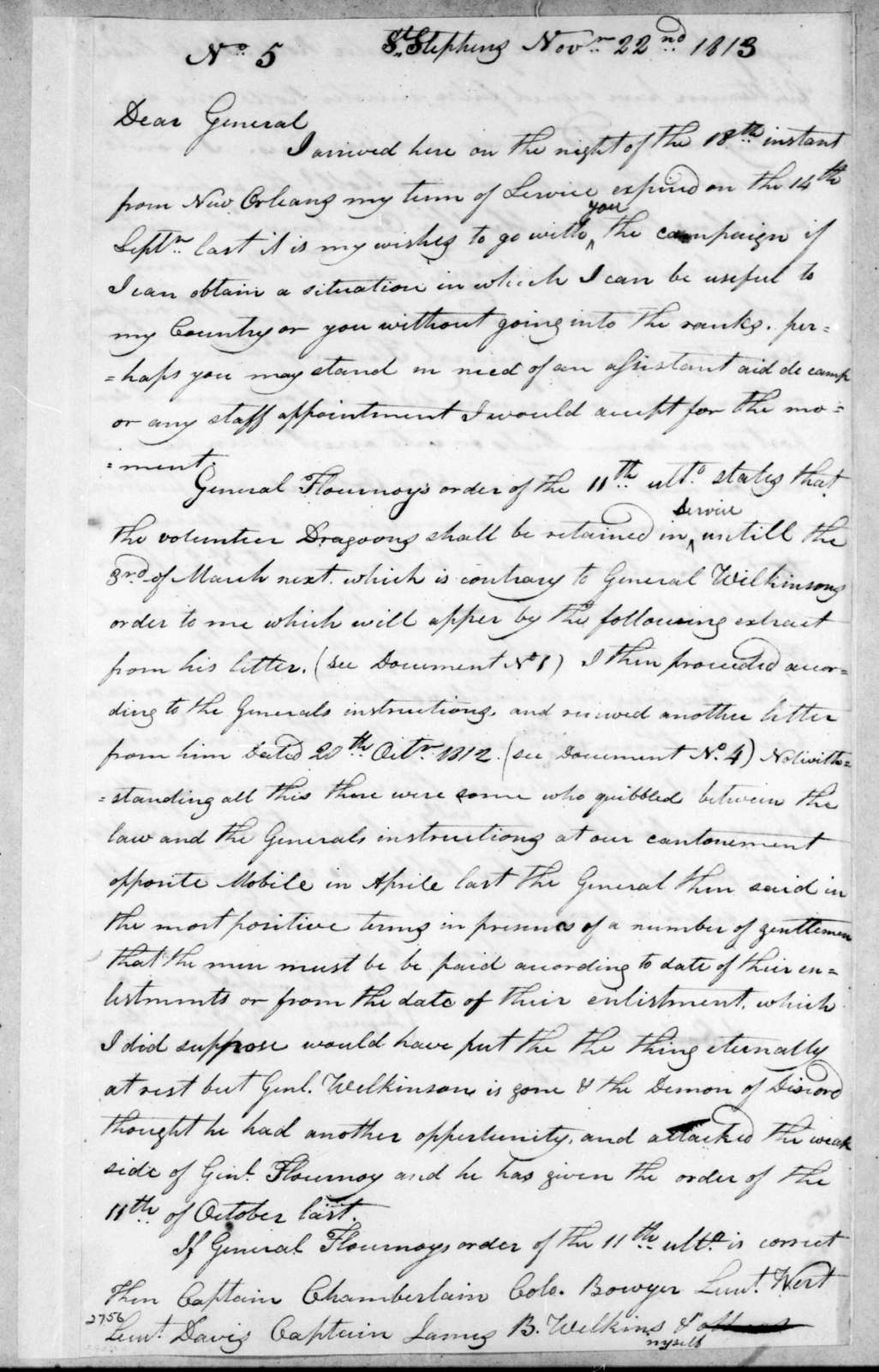 William Henry to Unknown, November 22, 1813