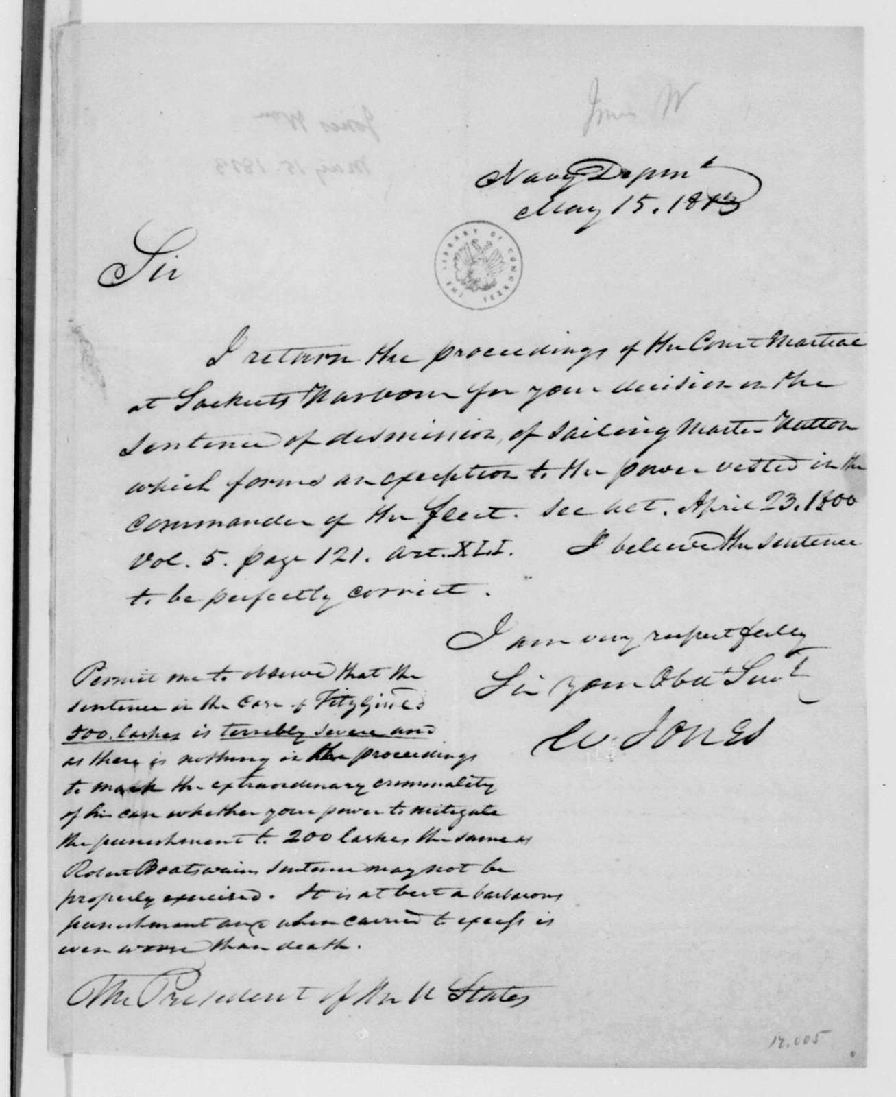 William Jones to James Madison, May 15, 1813. Includes extract from Sinclair May 16, 1813.
