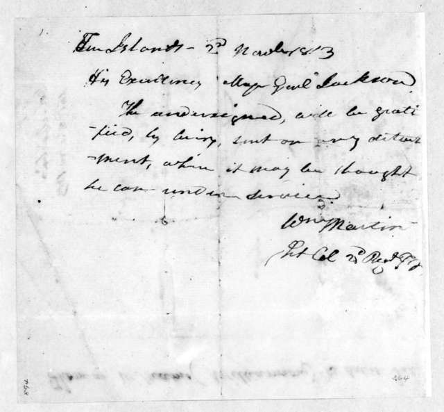 William Martin to Andrew Jackson, March 2, 1813