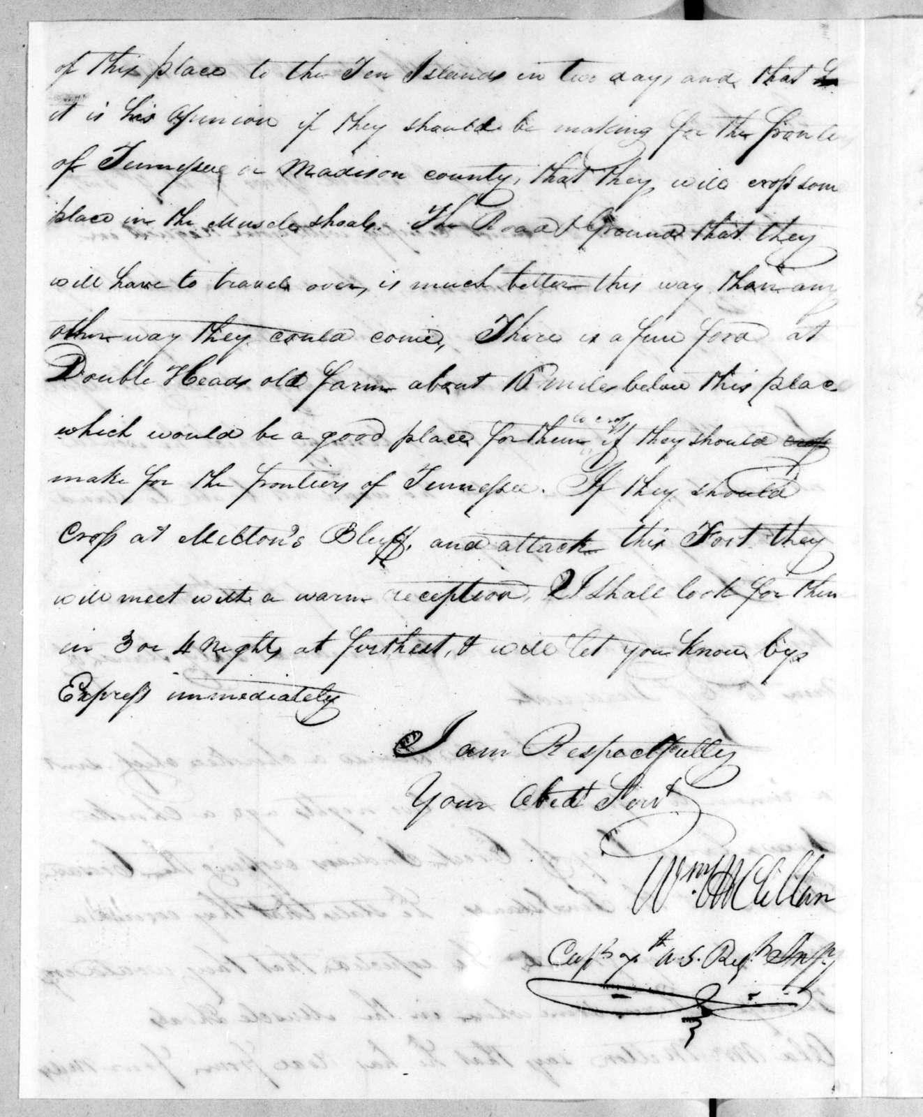 William McClellan to Andrew Jackson, October 13, 1813