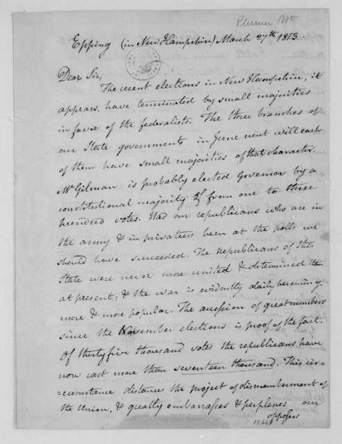 William Plumer to James Madison, March 27, 1813.