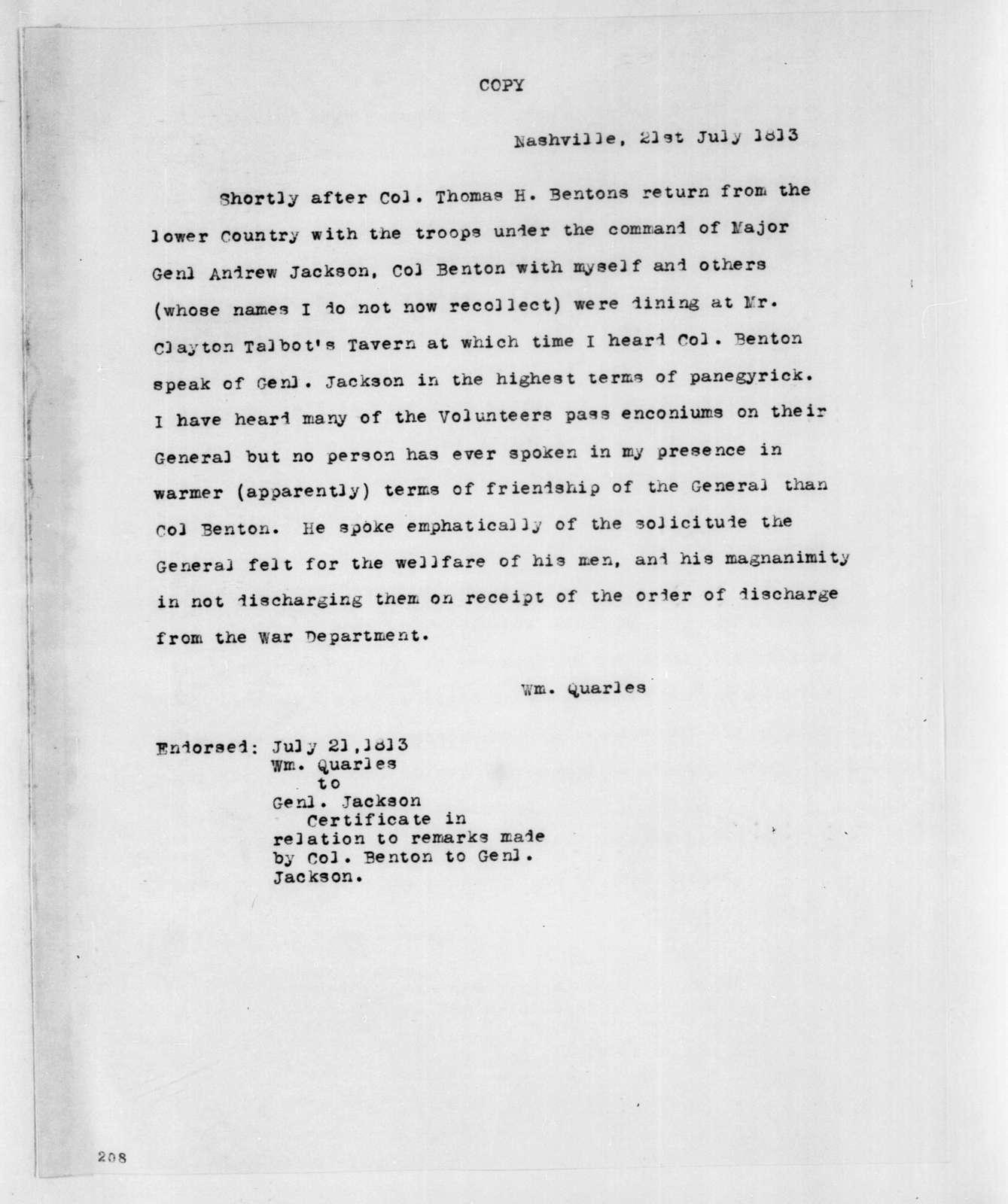 William Quarles to Andrew Jackson, July 21, 1813