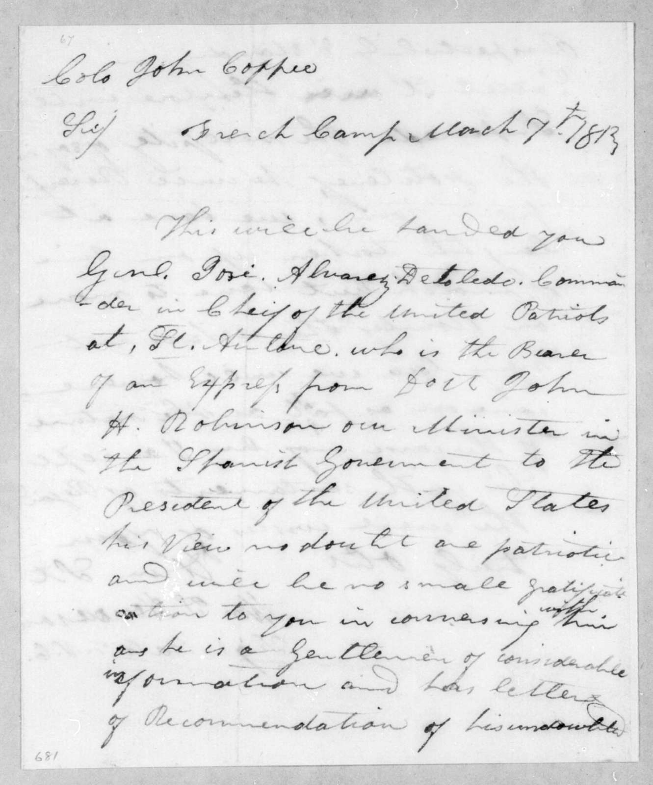 William T. Henderson to John Coffee, March 7, 1813