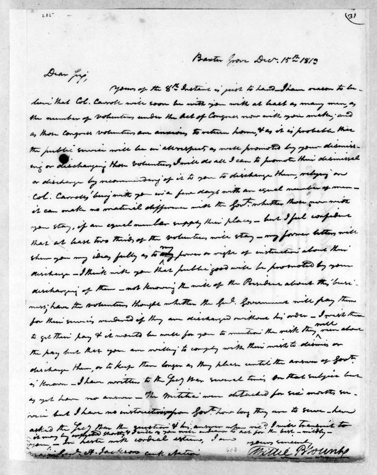 Willie Blount to Andrew Jackson, December 15, 1813