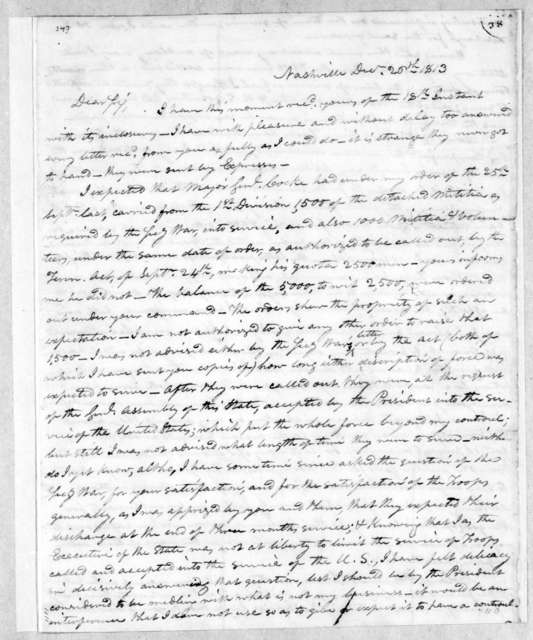 Willie Blount to Andrew Jackson, December 20, 1813