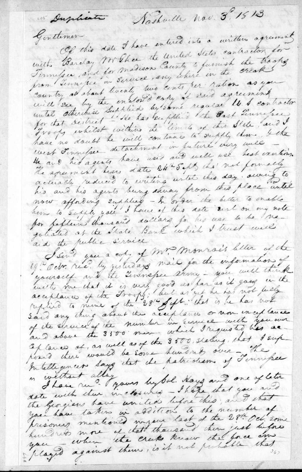 Willie Blount to Andrew Jackson, November 3, 1813