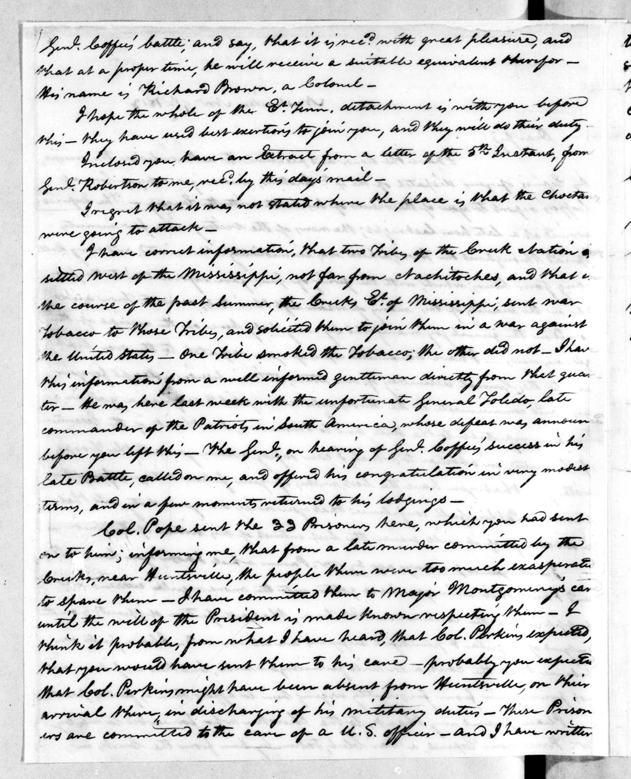 Willie Blount to Andrew Jackson, November 9, 1813