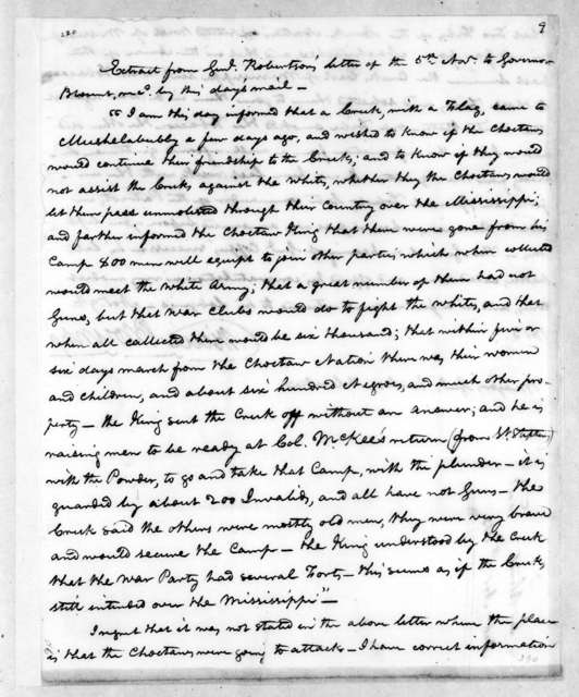Willie Blount to Andrew Jackson, November 9, 1813