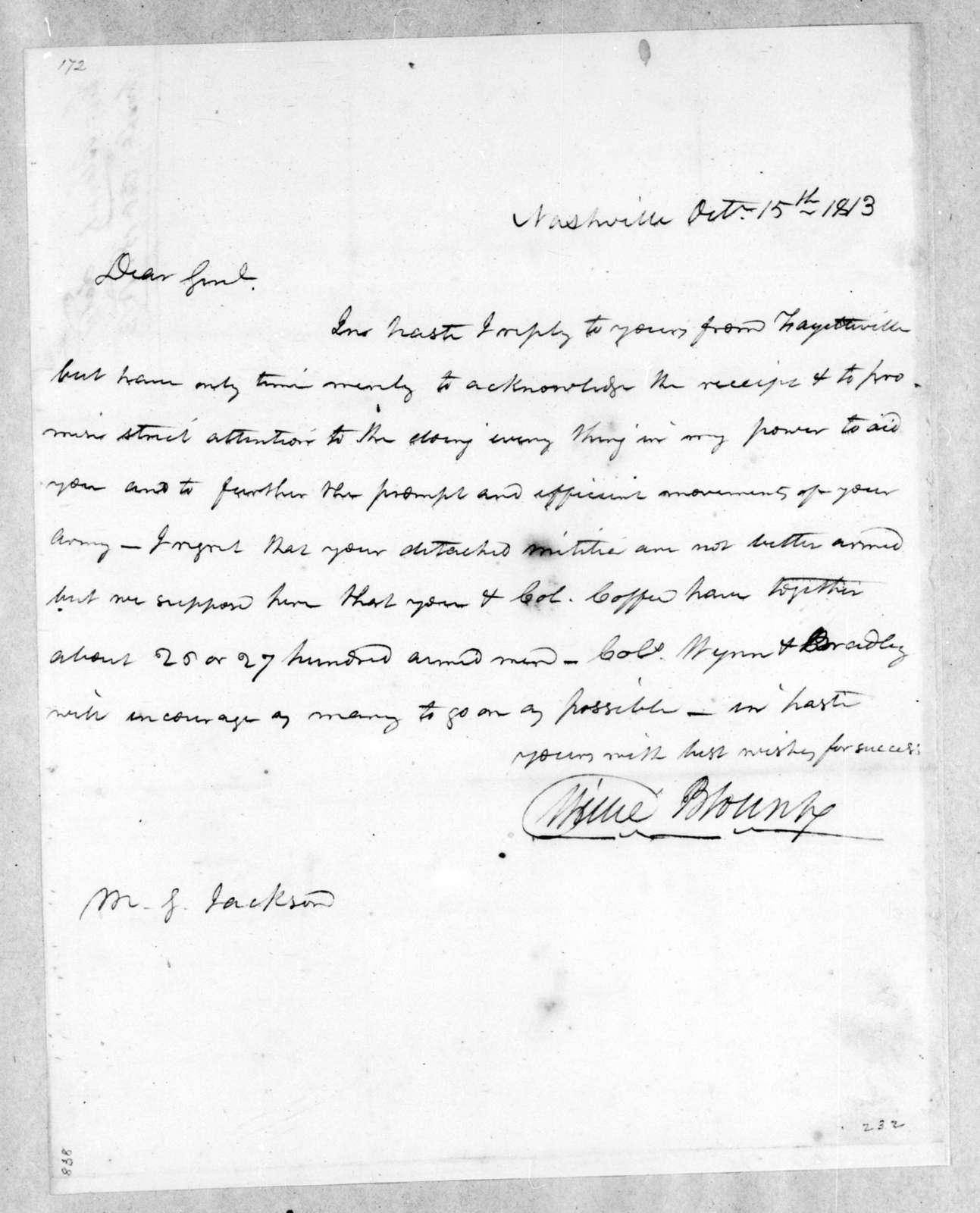 Willie Blount to Andrew Jackson, October 15, 1813