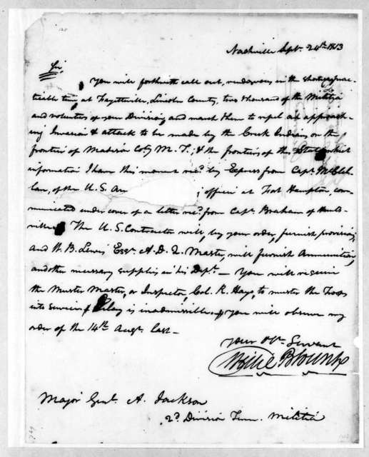 Willie Blount to Andrew Jackson, September 24, 1813