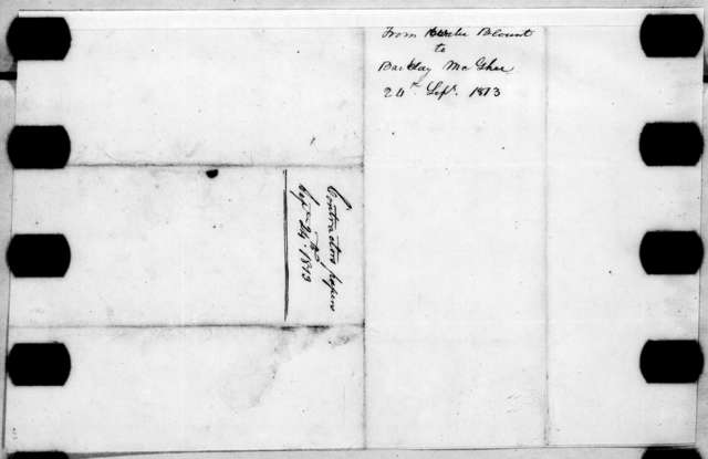 Willie Blount to Barclay McGhee, September 24, 1813