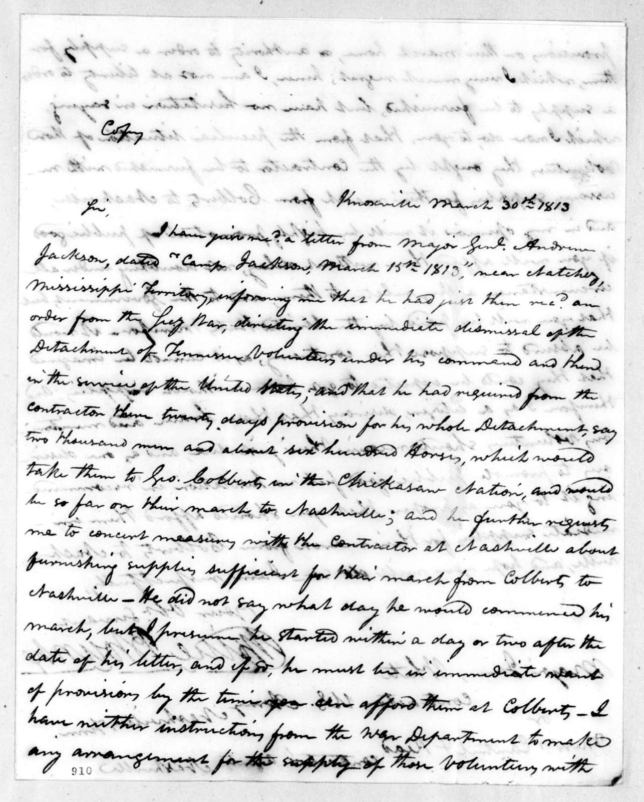Willie Blount to James White, March 30, 1813