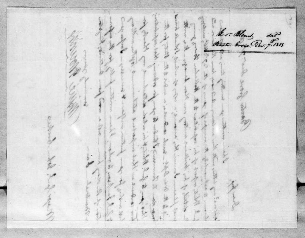 Willie Blount to John Cocke, December 7, 1813