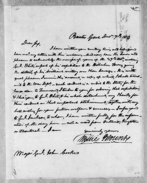 Willie Blount to John Cocke, December 7, 1813